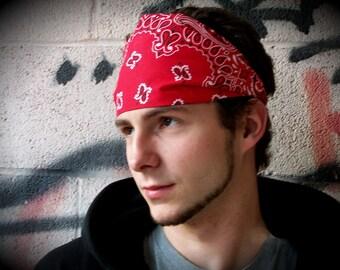 Men's Red Headband, Red Bandana, Headband for Men, Bandana Head Wrap (#4012) L RS