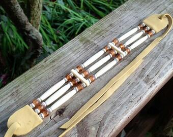 Bone hairpipe choker, gold translucent glass beads, native american style, bone hair pipe, white, tan leather, deerskin, pow wow regalia