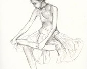 Ballerina  VI - Original Pencil Drawing Classical signed - 8x10 inch - by Evelyn Crow