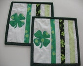 Quilted St. Patrick's Day Mug Rugs or Personal Cup Mats Set of 2
