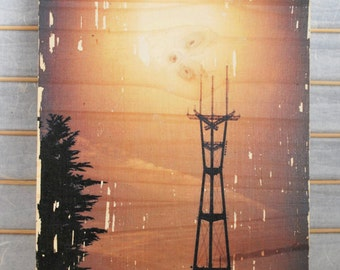 """Sutro Tower Glow - 8""""x10"""" Distressed Photo Transfer on Wood"""