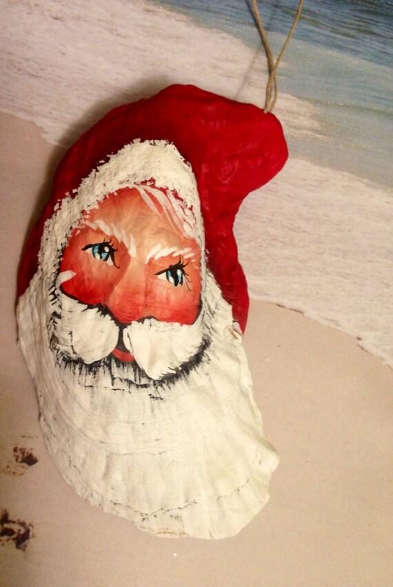 Shabby sweet oyster sea shell santa christmas beach ornament