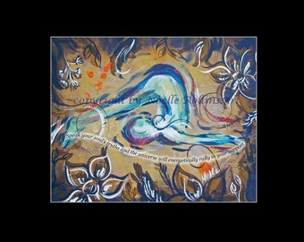 The Universe will Rally Soulful Yoga Plow Pose artwork print for throat chakra. in 11x14 inch mat