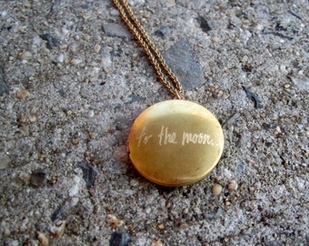 To The Moon..And Back Round Brass Vintage Locket Necklace