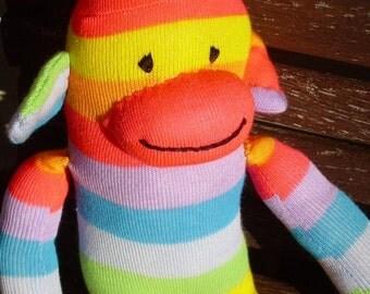 Rainbow sock monkey toy Great Christmas stocking stuffer
