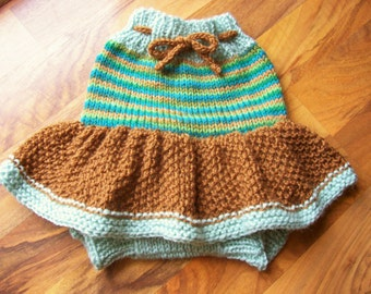 Hand Knitted Wool Diaper Cover Skirt Baby Wool Diaper Cover Wool Diaper Soaker Wool diaper Wrap Wool Nappy Cover size Medium