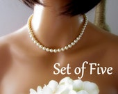 Set of 5, Classic Pearl Necklace, Ivory Pearl Necklace, Swarovski, Maid of Honor, Pearl Bridesmaid Necklace, Single Strand Pearl Necklace
