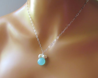 Blue Stone Necklace, Aqua Chalcedony Necklace, Freshwater Pearls, Something Blue Necklace, Beach Wedding, Sterling Silver