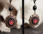 Rose of Sanguine Earrings - Antiqued Brass - Victorian