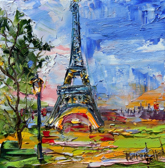 Impressionism Paris: Original Oil Painting Paris Eiffel Tower Palette Knife Modern