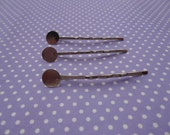 50pcs silver metal Bobby Pin with 8mm Glue Pad--metal hair pin with 8mm glue pad