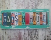 Personalized License Plate Sign  - Funky Word BAR PATIO Block - WEDDING Custom Anniversary Childrens names Available - Recycled Vintage Art