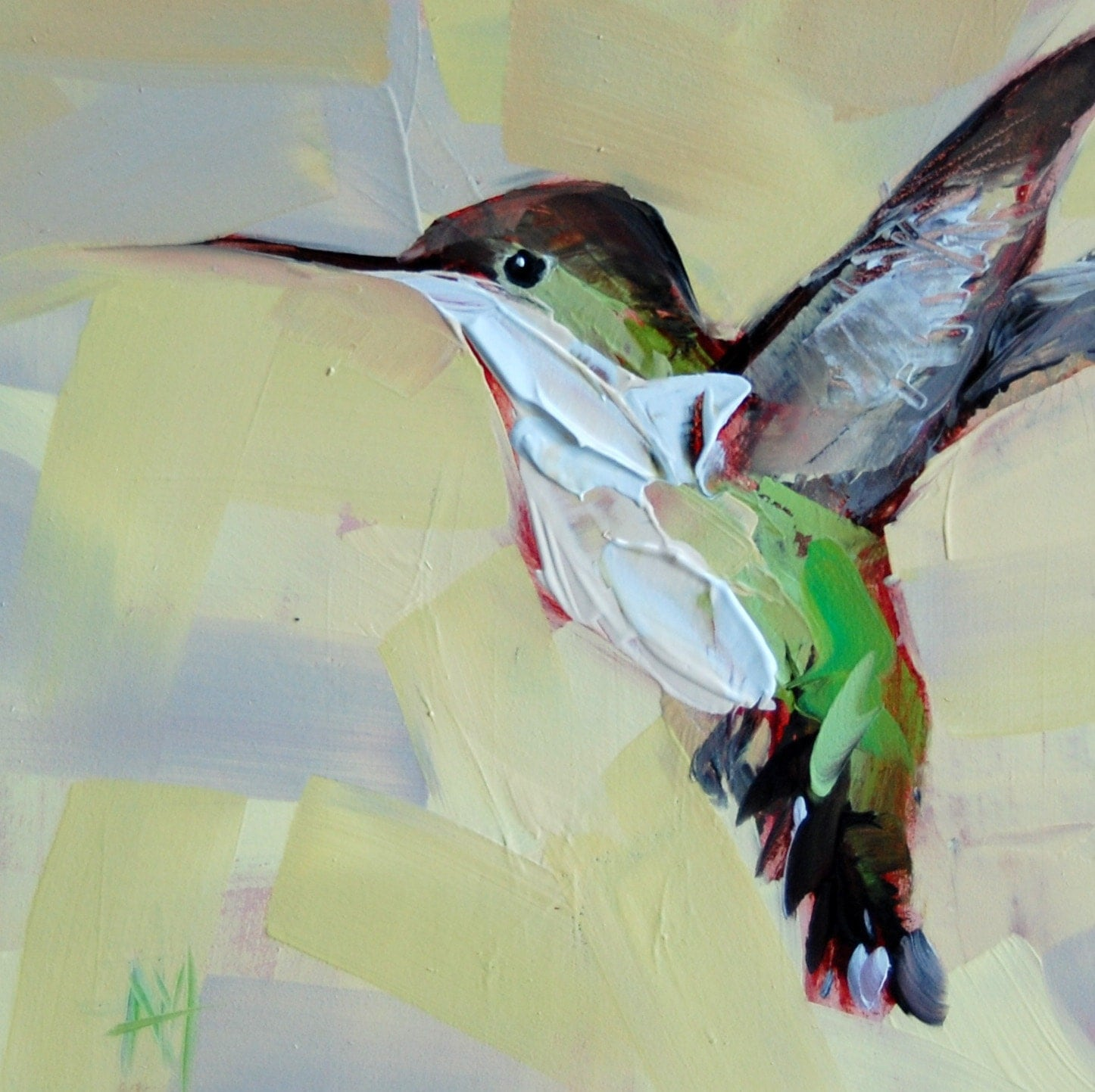 Hummingbird No 38 Original Bird Oil Painting By Moulton 6 X 6
