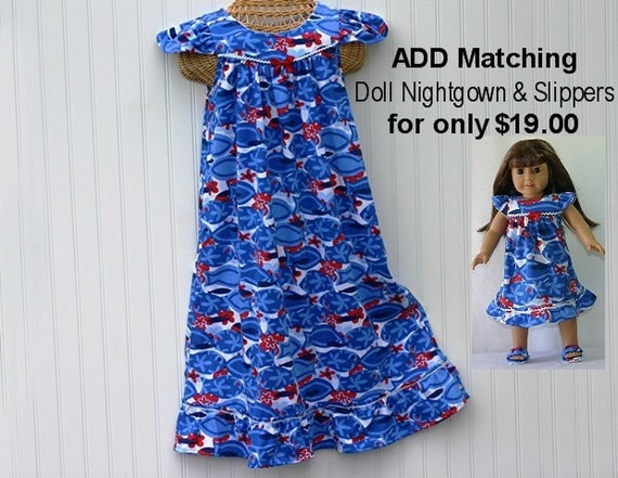 LAST ONE, Size 8, Girls Handmade 100% Cotton Knit Nightgown, LONG-Full Length, Flutter Sleeves, Ruffle, Blue Waves, Ready to Ship