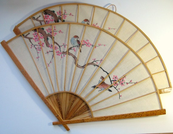 Decorative Wall Fans : Vintage asian fan decor wall set cherry blossom