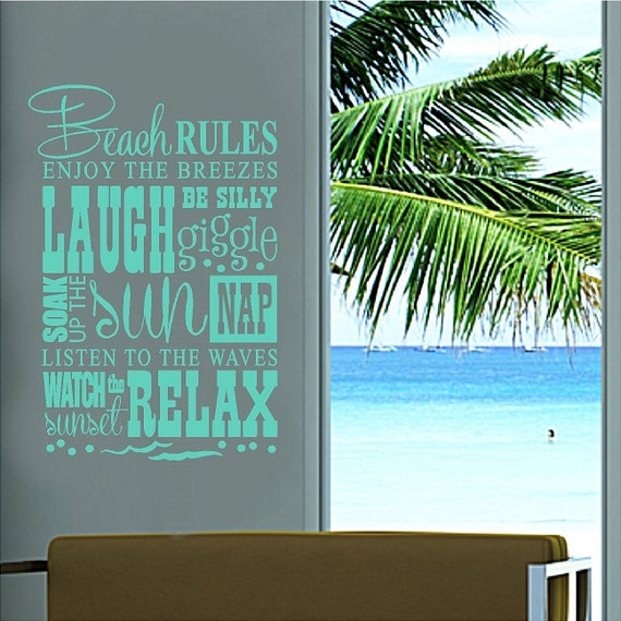 Beach rulesbeach wall quotes words removable beach decals for Beautiful beach decals for walls