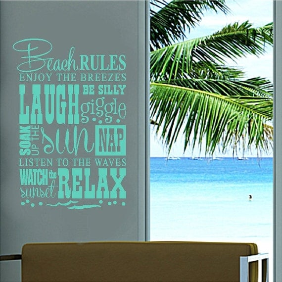 Beach Rules.....Beach Wall Quotes Words Removable Beach Decals