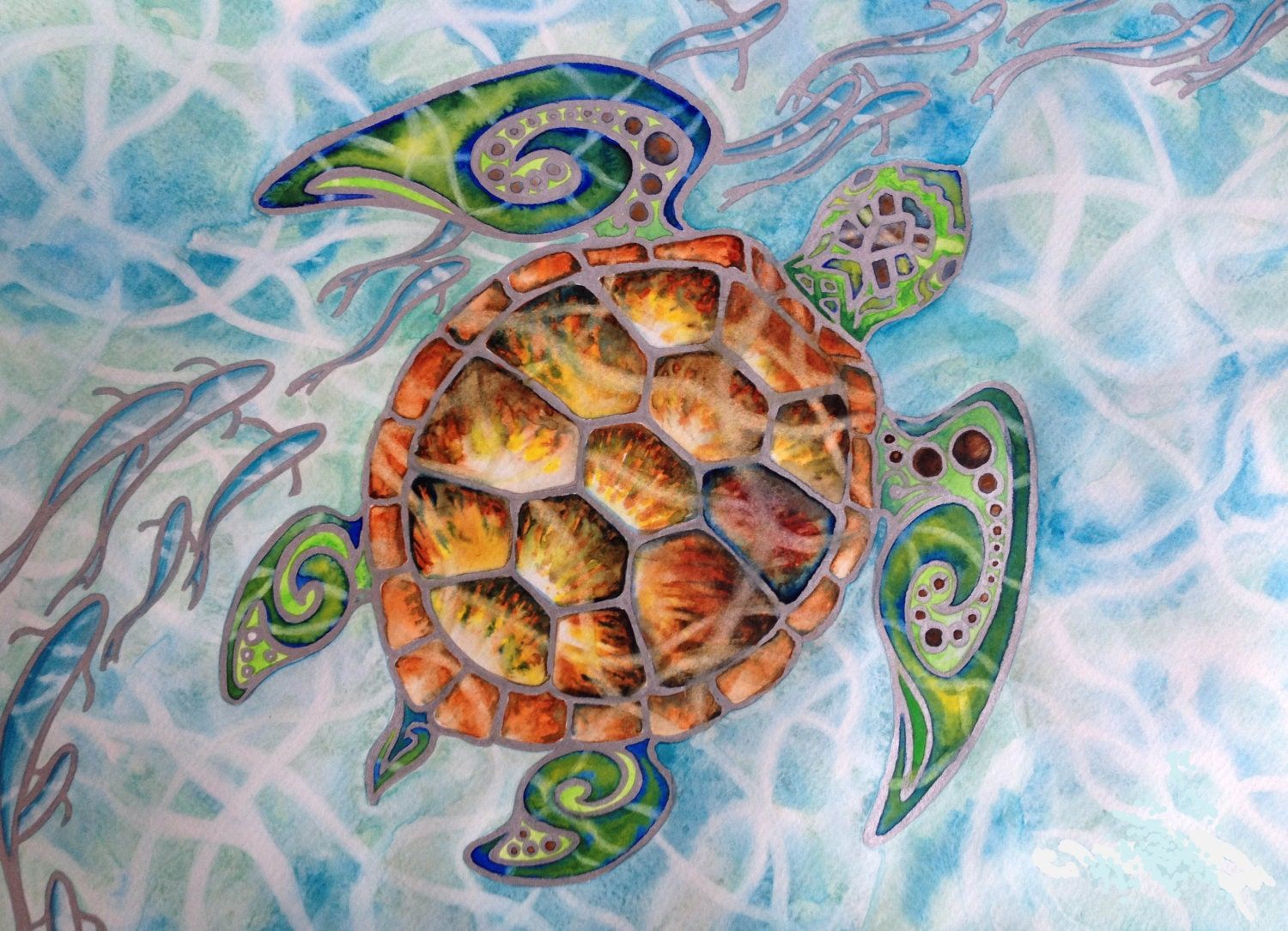 Tropical Tribal Sea Turtle Art Honu Island By Christiemarieart