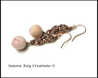 Ready To Ship  Byzantine Chainmaille Earrings in Copper with  Rose Quartz  Accent