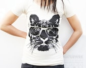 Eye of the Tiger - Organic Womens Tiger with Glasses Tshirt - Organic Cotton - Small, Medium, Large, XL - Eco-Friendly