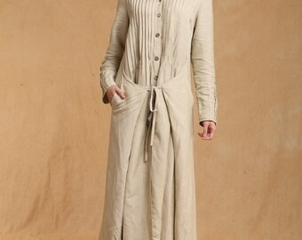 Spring dress Loose fitting Long Sleeve Sundress Maxi Dresss in Beige(more colour and size choice)-NS19