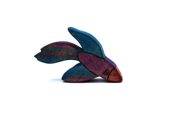 Betta fish wooden figurine wooden toys waldorf toy animals for Betta fish toys