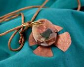 Mokume Gane Copper Fish Beach Glass Necklace