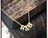 "Gold Two Initial with ""&""  Necklace-Lots of Initials!"