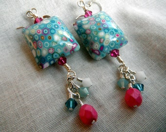 Multicolor Pillow Bead and Crystal Earrings - turquoise, pink, white and teal