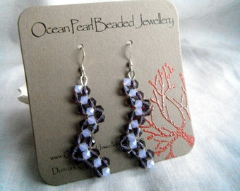 Zigzag Amethyst and Opal Bicone Crystal Bling Earrings