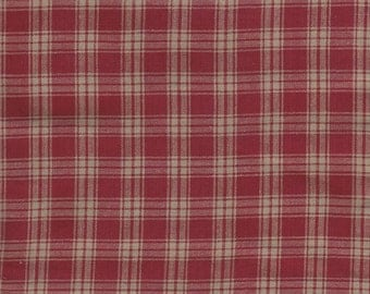 "Burgundy And Cream Plaid Cotton Fabric Fat Quarter - Ideal 4 Charm Quilt Piecing, Sewing, 21"" x 23"" Vintage Yardage - Inventory Lot  # 329"