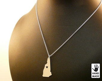 NEW HAMPSHIRE state hand cut sterling silver pendant, sterling silver chain