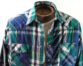 vintage western shirt mens large plaid green blue yellow cowboy rockabilly long sleeved