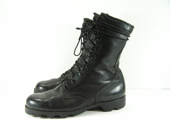 vintage combat boots mens 8 w or womens 10 black leather