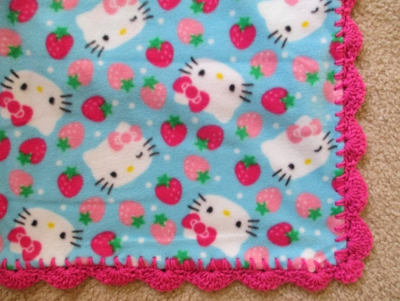 Crochet Pattern For Hello Kitty Baby Blanket : HELLO KITTY Baby Blanket Blue with by DitzyBlondCrochet on ...
