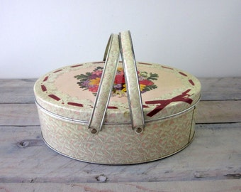 Vintage Metal Sewing Tin with Handles Biscuit Box