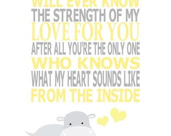 Hippo Nursery Art, Grey Yellow Nursery, Kids Wall Art, Nursery Art Decor, Quote, Hippo, The Strength of My Love, 8x10, Art Print