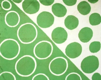 Green and white mod scarf. Polka dots, circles, graphic, fun, spring green, lime green, striking, positive and negative shapes
