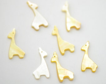 Giraffe MOP Charms Yellow Beige Mother of Pearl Shell 25mm -(V1131-1) /10Pcs