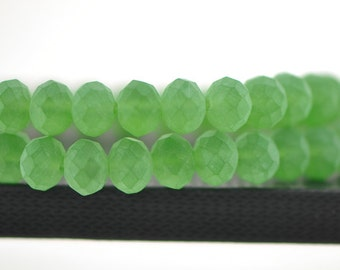 Matte Rondelle Crystal Glass Faceted  Beads 8x10mm Green - BZ1038/ 70pcs