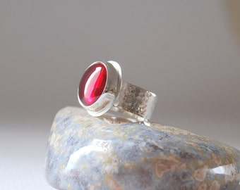 Red Ruby Gemstone Sterling Silver  Hammered Ring