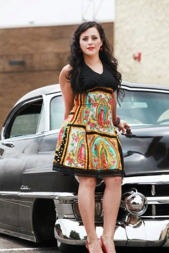 Guadalupe Mexican Virgin Mary Halter Dress / Rockabilly Guadalupe Panels Dress