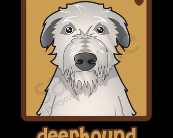 Deerhound Cartoon Heart T-Shirt Tee - Men's, Women's Ladies, Short, Long Sleeve, Youth Kids - Scottish Deerhound