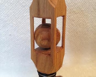 Ball in a Box Bottle Stopper Hand Carved Wine Stopper    Gift For Dad Handmade Gift For Mom