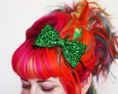 SALE - Bow Headband, Emerald Green Glitter, Green Headband, Several Other Colours Available - Christmas In July CIJ