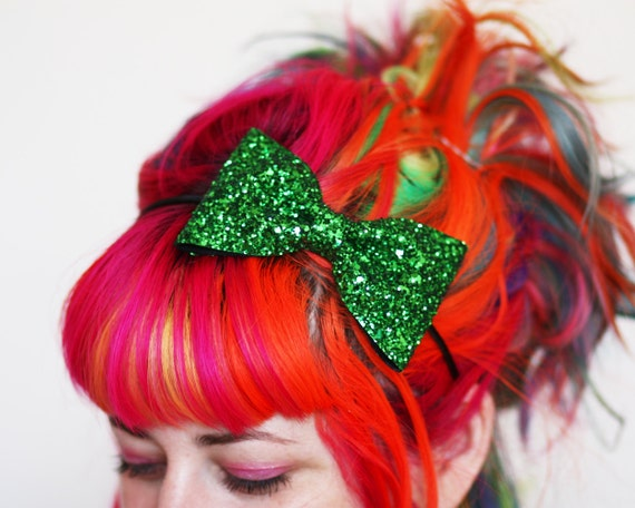 Bow Headband, Emerald Green Glitter, Green Headband, Several Other Colours Available- Black FRiday Cyber Monday