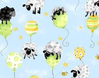 "LEWE on Balloons SHEEP ~ 100% Cotton Fabric ~ Lewe the Ewe Black and White Sheep on Balloons ~ 1/2 Yard Cut ~ 18"" x 42"" by Susybee Fabrics"
