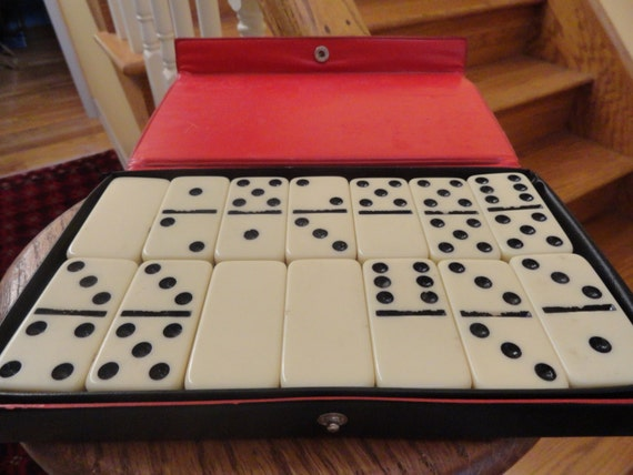Vintage Dominoes Set In Box Heavy Ceramic Ivory By