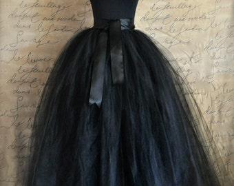 Black tulle skirt for women Black full length sewn lined tulle skirt. Weddings and formal wear for girls or women.