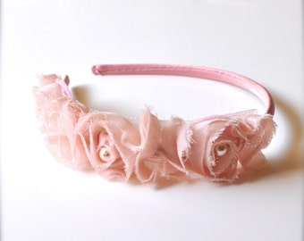 Women's headband. Girls headband Toddler headband Shabby chic blossom and pearls on a satin headband. 18 colors.